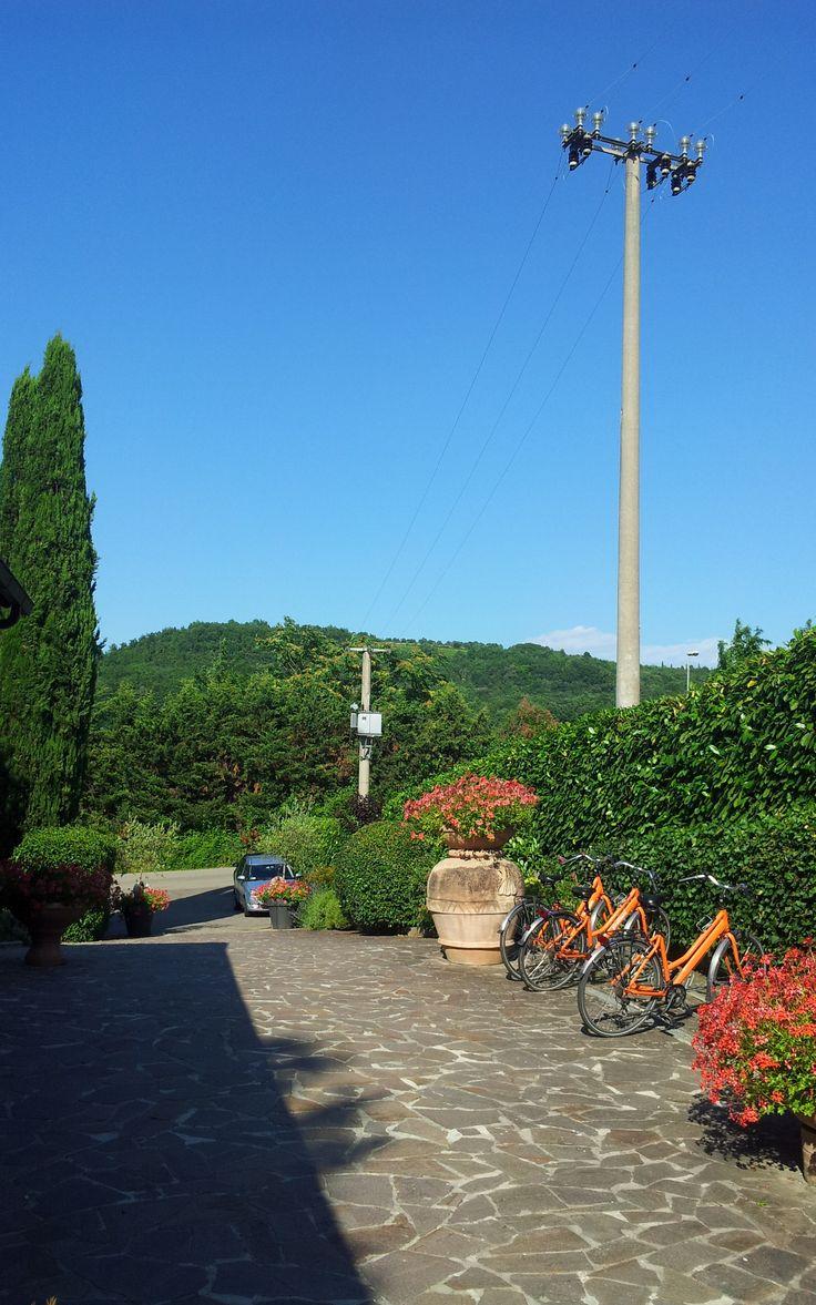 Oprit vanParkhotel Chianti. (Vakantie Toscane Italië juli 2013).