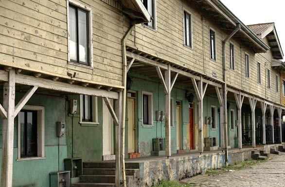 Casas de los mineros en Lota. Fotos de Concepción: Paisajes y Fotografías de Chile Central