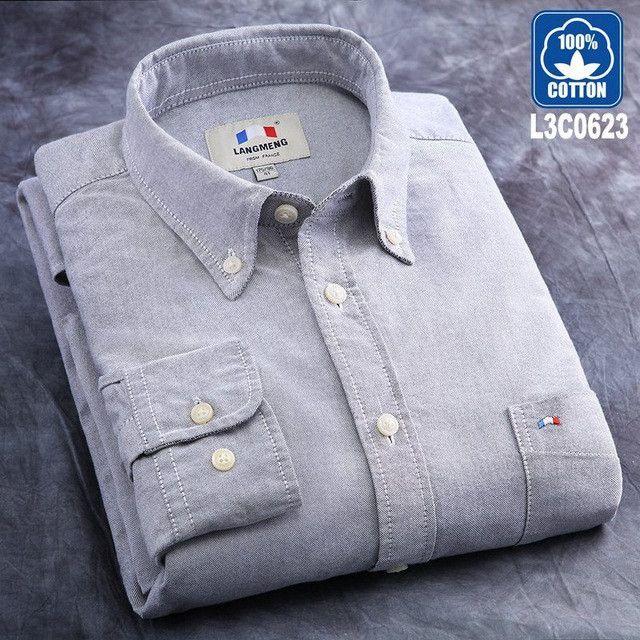 Langmeng spring autumn new male long sleeve 100% cotton casual shirt men solid color slim fit dress shirt men chemise homme