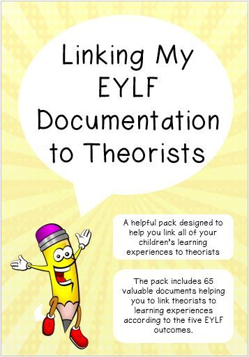 Linking My EYLF Documentation to Theorists is specifically designed to help you link your children's learning experiences to outcomes and theorists. Over 65 documents, including posters and learning stories, for $15!