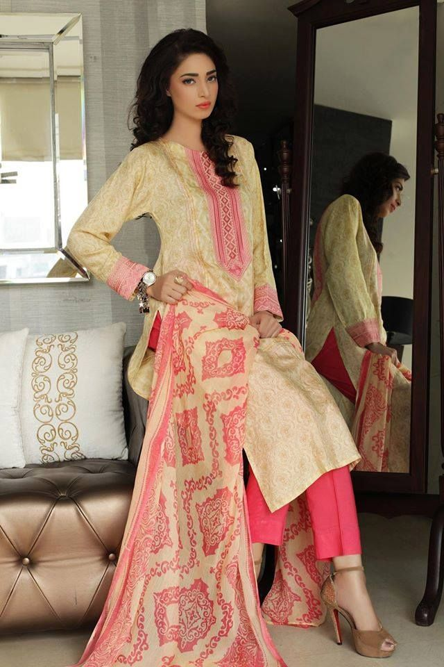 Skin Color And Pink Suit With Full Design On Dupatta