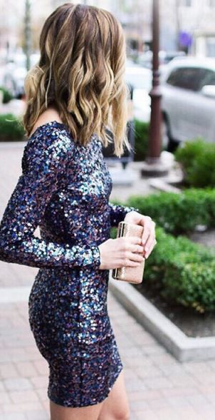 Sequin long sleeve party dress