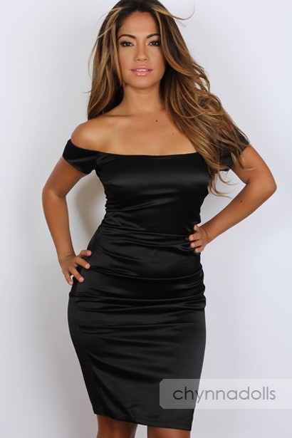 Sexy Dress Black Satin Off Shoulder Solid