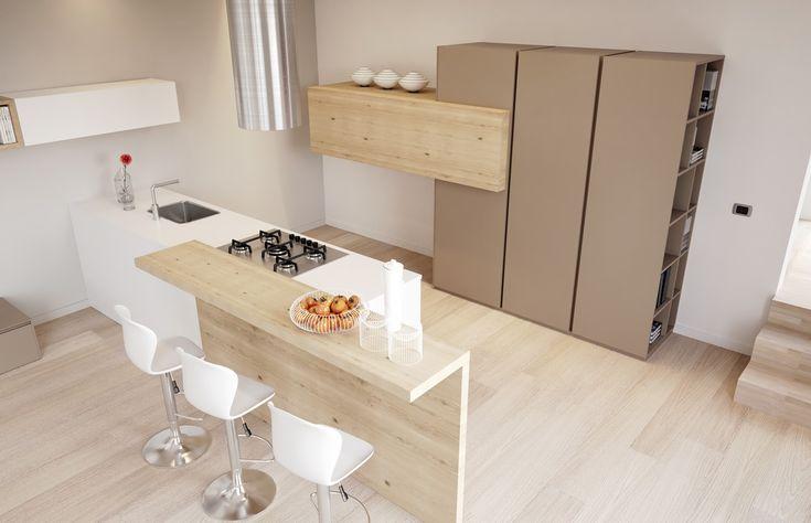 Cucina laccata bianca opaca e bancone in legno nodato
