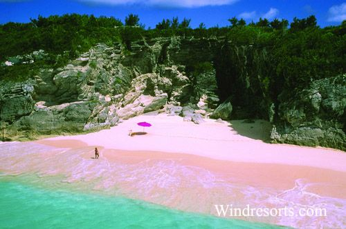 Someday I want to go to a beach with Water this Blue, and Beaches with pink sand.