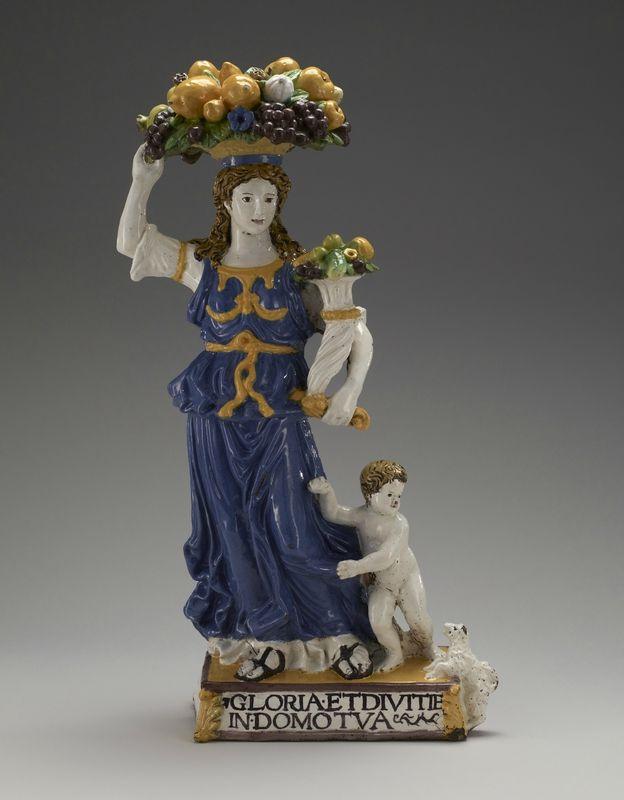 Giovanni della Robbia, Dovizia, 1469 - 1530, glazed terracotta, overall: 69.22 x 37.47 x 20.96 cm (27 1/4 x 14 3/4 x 8 1/4 in.). Lent by The Minneapolis Institute of Art, The William Hood Dunworthy Fund.