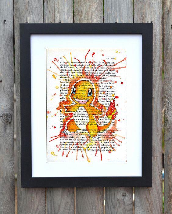 Stampa Charmander Pokemon , watercolor ,arte , acquarello , pagina di libro , decorazione parete , casa , regalo bambini di PikiibooArtShop su Etsy  #charmander #pokemon #fire #print #stampa #etsy