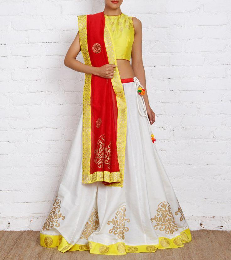 White and Yellow Cotton Silk & Chanderi Lehenga Set