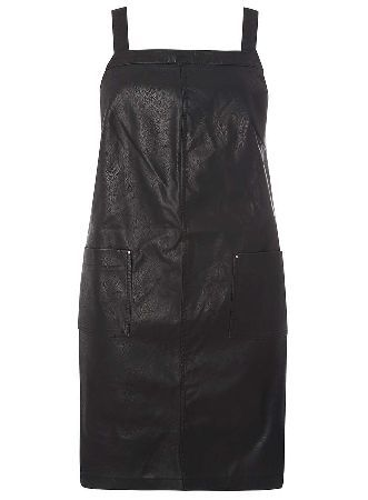 Dorothy Perkins Womens DP Curve Plus Size Black PU Pinny Dress- Black PU pinny dress with pocket detailing and small studs on straps. Wearing length approx. 99cm 100% Polyurethane. Machine washable. http://www.MightGet.com/january-2017-13/dorothy-perkins-womens-dp-curve-plus-size-black-pu-pinny-dress-.asp