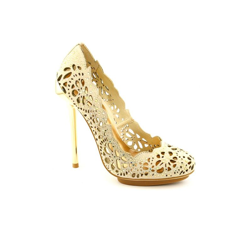 USD 162.99 — Don't be afraid to show your feathers with the magnificent BCBG Max Azria Peacock pumps. These pumps feature a leather upper with dazzling rhinestones accenting the elaborate perforations. The metallic stiletto heel offers towering lift for a sultry silhouette.