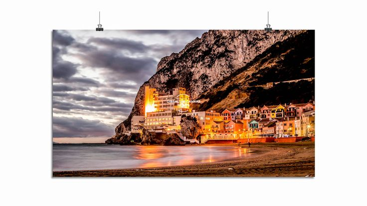 """GIBRALTAR CANVAS PRINTS """"Caleta Palace Hotel a glorious dawn image of the iconic Caleta Palace Hotel set against a backdrop of the mesmerising Rock of Gibraltar"""" Photo @ Simon Newbound. Buy Online https://www.gibraltarcanvasprints.com/product/caleta-palace-hotel-by-gibraltar-canvas-prints-2/"""