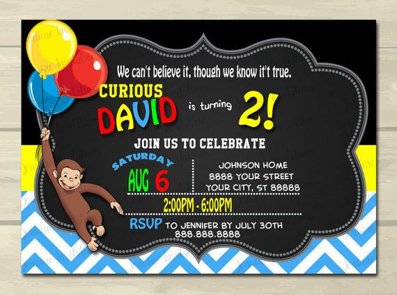 Curious George Birthday  Invitations  by JenuineInvitations