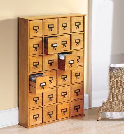 Library CD Storage Cabinet - 24 Drawer (available in cherry finish, not pictured)