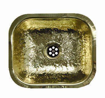 Whitehaus WH690BBB Decorative Prep 12 1/2 x 10 Rectangular Undermount Entertainment/Prep Sink, Hammered Brass