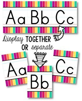 Brighten up your classroom with this funky rainbow alphabet line. Matching cursive alphabet & number lines available!