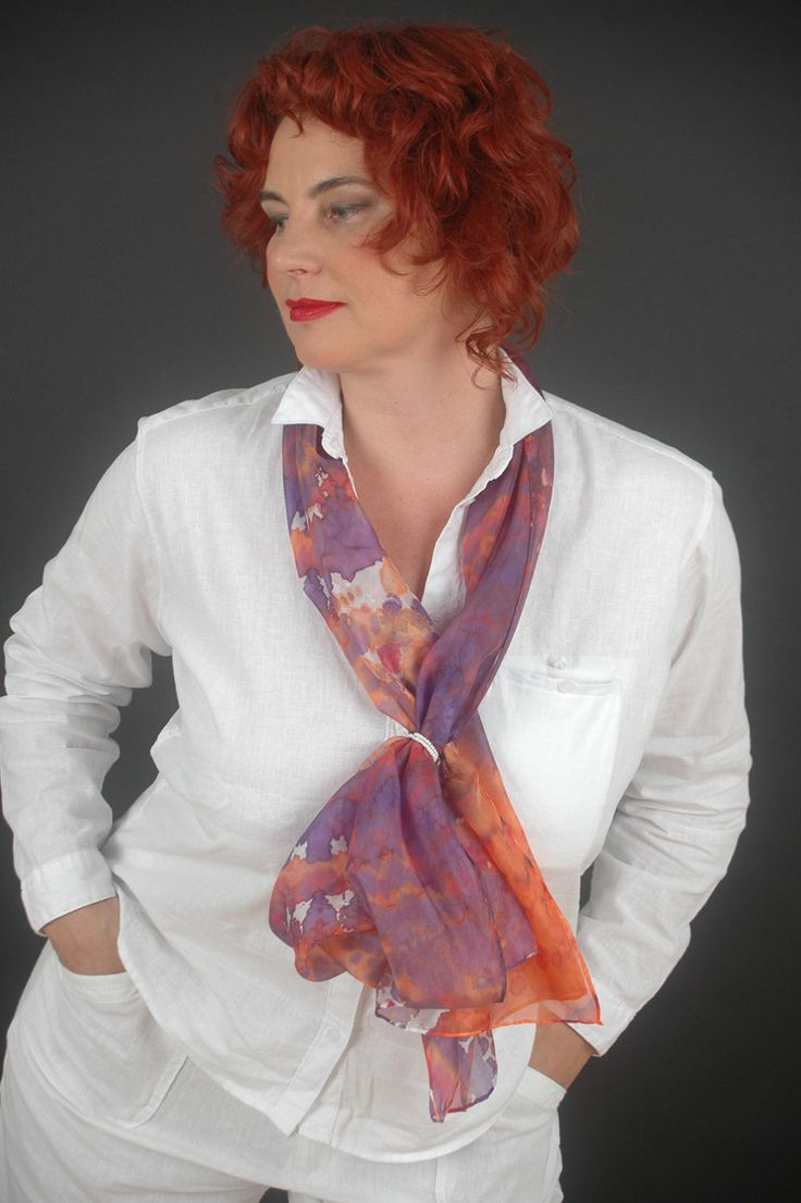 "Hand painted silk scarf ""Dream"", purple, red, orange, white. Large size 18""x72"" (45x180cm), pure silk.  by SilkAndLove on Etsy"