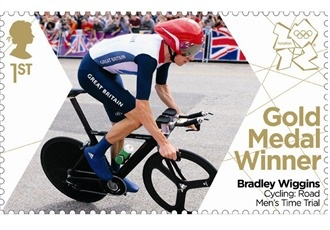 The first gold medal stamps featuring Team GB Olympic champions Bradley Wiggins, Helen Glover and Heather Stanning.