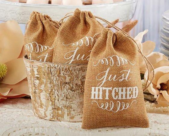 Hitched... burlap favor bags for DIY favors DaSweetZpot.com Wedding ...
