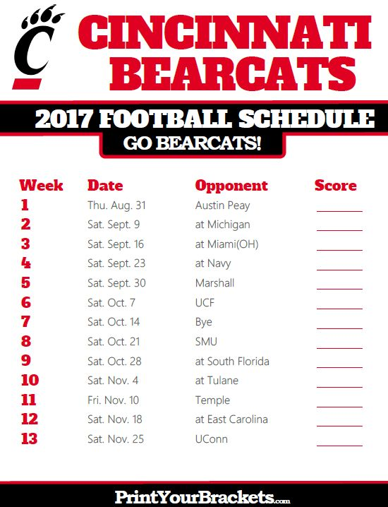 2017 Cincinnati Bearcats Football Schedule
