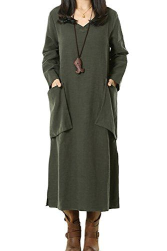 Mordenmiss Women's Cotton Linen Dress Spring Travel Clothing XL Army Green Mordenmiss http://www.amazon.com/dp/B00RAYKECS/ref=cm_sw_r_pi_dp_c286ub109CB99