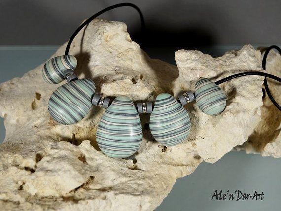 Polymer clay necklace polymer clay jewelry mint by AlenDarArt
