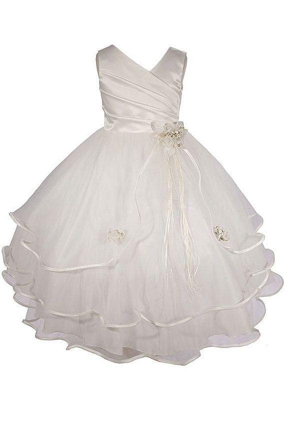 Ivory Flower Girl Easter Dress/Short Flower Girl Dress/Tulle Tutu Girl Dress with Belt on Etsy, $49.00