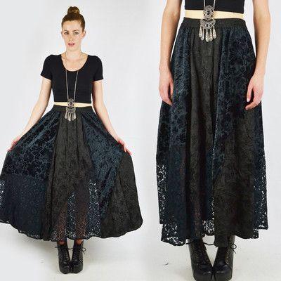 vtg 90s grunge goth gypsy BURNOUT VELVET sheer LACE full maxi dress skirt M/L $78.00