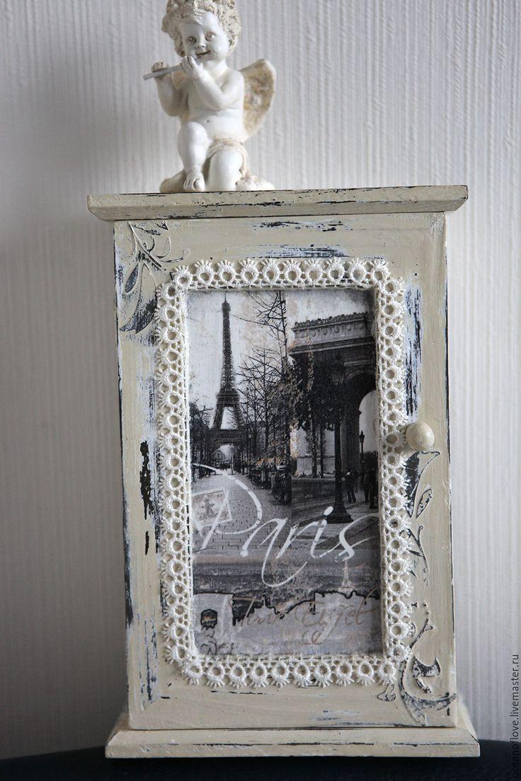 Купить Ключница На память из Парижа - белый, молочно-белый, нежно-фисташковый, потертости, шебби