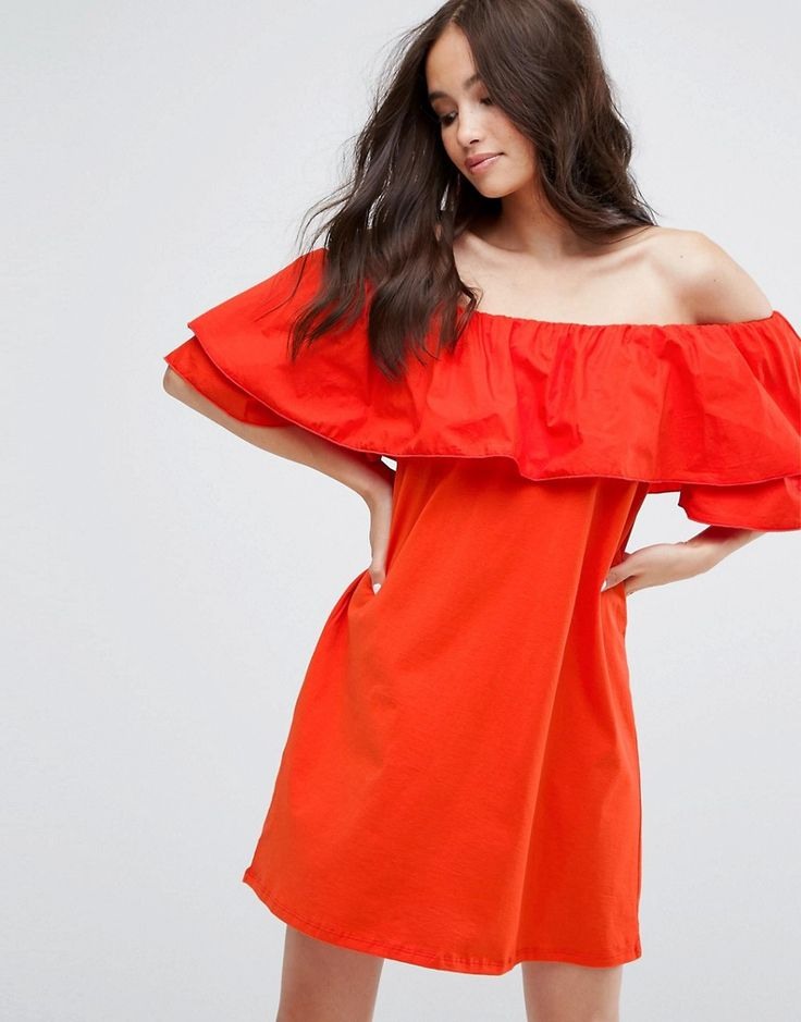 Buy it now. Pull&Bear Off Shoulder Dress - Red. Dress by Pull Bear, Woven cotton, Bardot neck, Ruffle overlay, Regular fit - true to size, Machine wash, 100% Cotton, Our model wears a UK S/EU S/US XS and is 173cm/5'8 tall. Born in the 90s, Pull Bear aren�t ones to suffer stereotypes. With a big nod to street style, Pull Bear go for an androgynous look, adding grunge influences and cool, sportier elements across a laidback and easy-wearing collection of denim, coatigans and skater dresses…