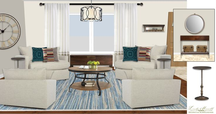 A conversation seating area space for a virtual design client. Design and rendering by Linda Merrill. #virtual #design #edecor #edesign #living #room #conversation #oversize #chairs @neutral