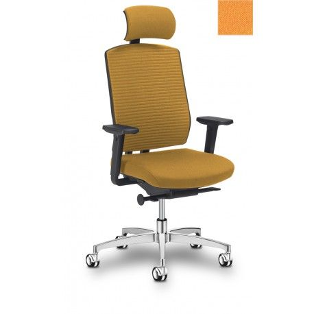 4YOU Sitland Fauteuil de bureau alu poli / chrome / tissu orange