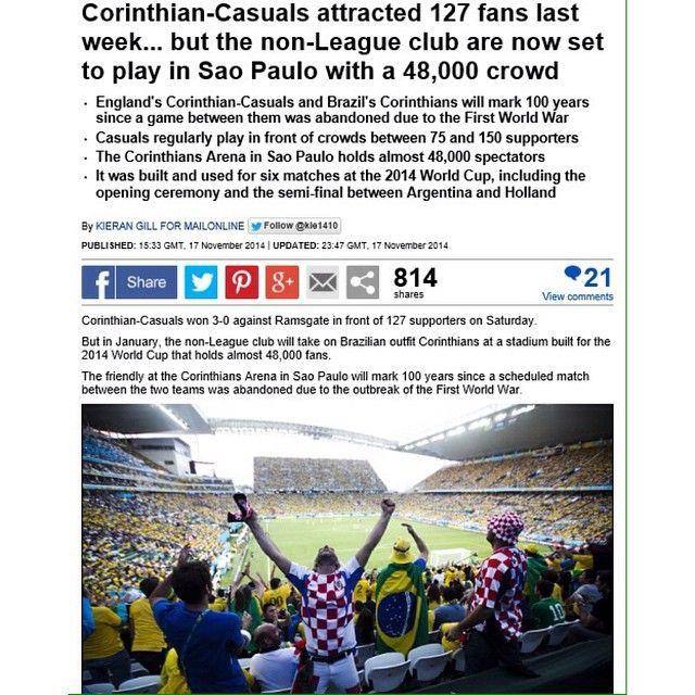 Sport Club Corinthians Paulista x Corinthian Casuals