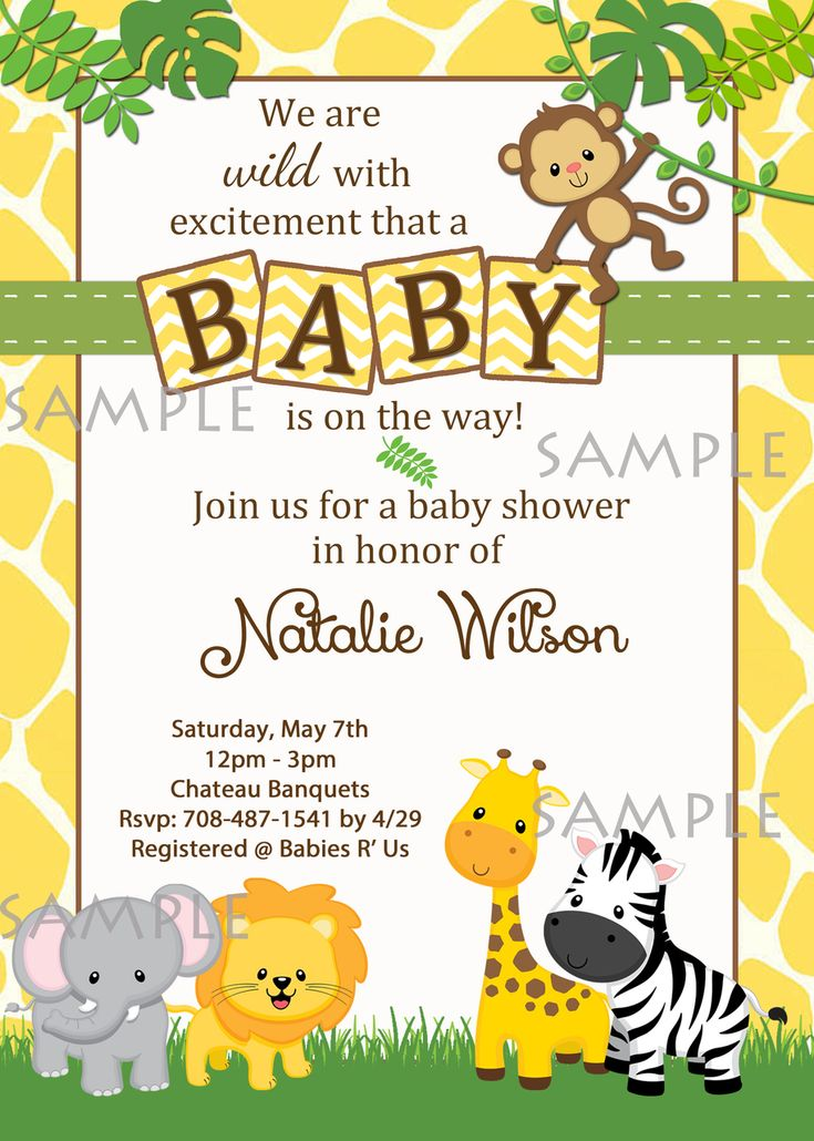 safari baby shower invitations baby shower