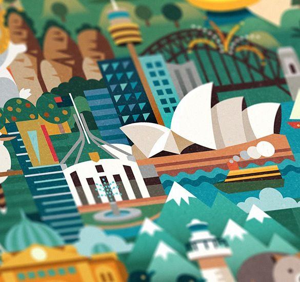 Beautiful Illustrated Map Invites You To Discover Australia - DesignTAXI.com