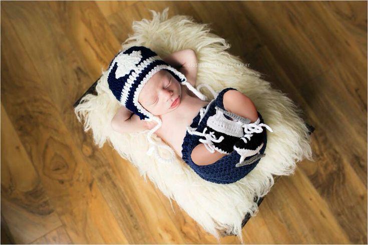 MAPLE LEAF BABY, Toronto Maple Leafs pacifier not included, Hockey Boy Crochet, Blue White Hockey, Crochet Hockey Outfit, Knit Hockey Outfit by Grandmabilt on Etsy