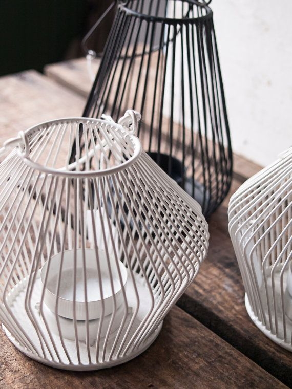 Wire Lantern Tea Light Holder Set of 3  by WeddingBoxWhatNots