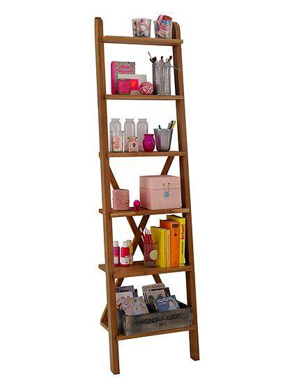 Prakatisches Leiterregal Teak, das zur dekorativen Aufbewahrung von Büchern, Bildern oder Blumen geeignet ist. Jetzt bei car Möbel entdecken!