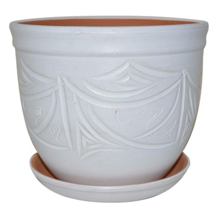 Горшок керамический с поддоном Узоры, диаметр 28 см, 14,4 л, цвет белый