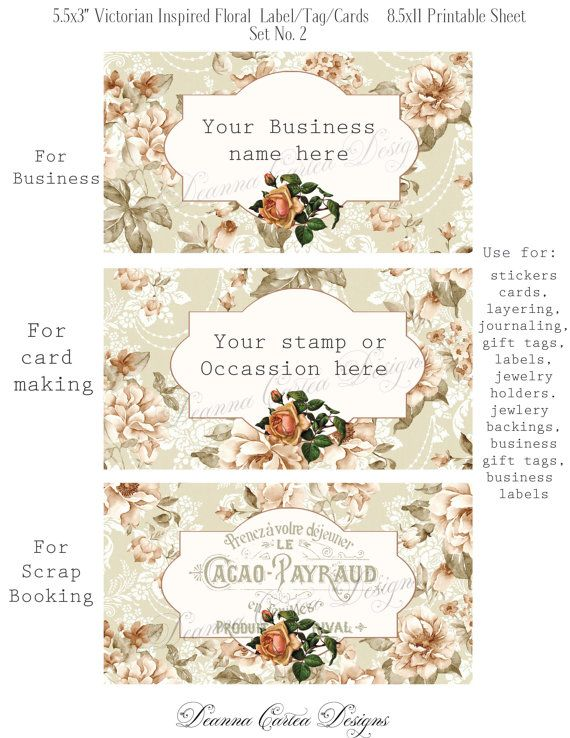 Victorian floral printable Tags 5.5x3 shabby chic by DeannaCartea