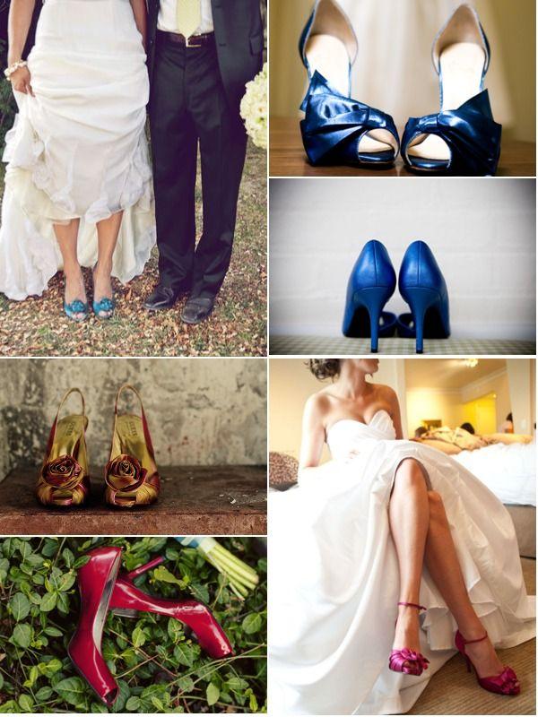 Всевозможные подвязки и цветные туфли в свадебном образе