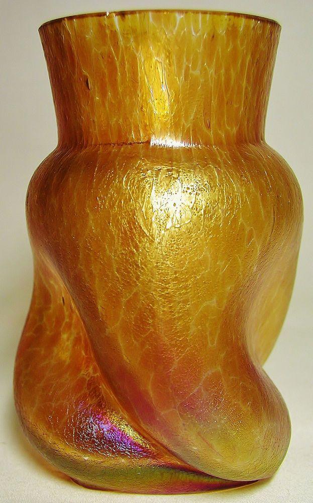 Best Kralik Vasetique Kralik Green Iridescent Crackle Glass Vase