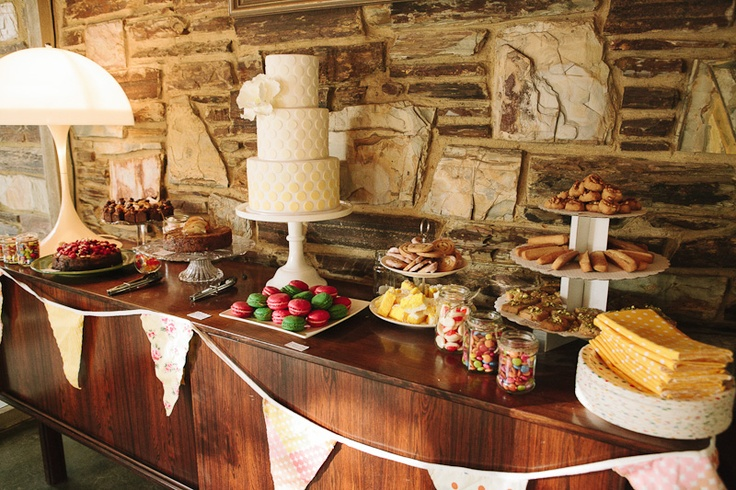 Gorgeous sweet spread. Dessert Table by 'Frank Food and Me' and Cake and Stationary by 'Cake Ink'