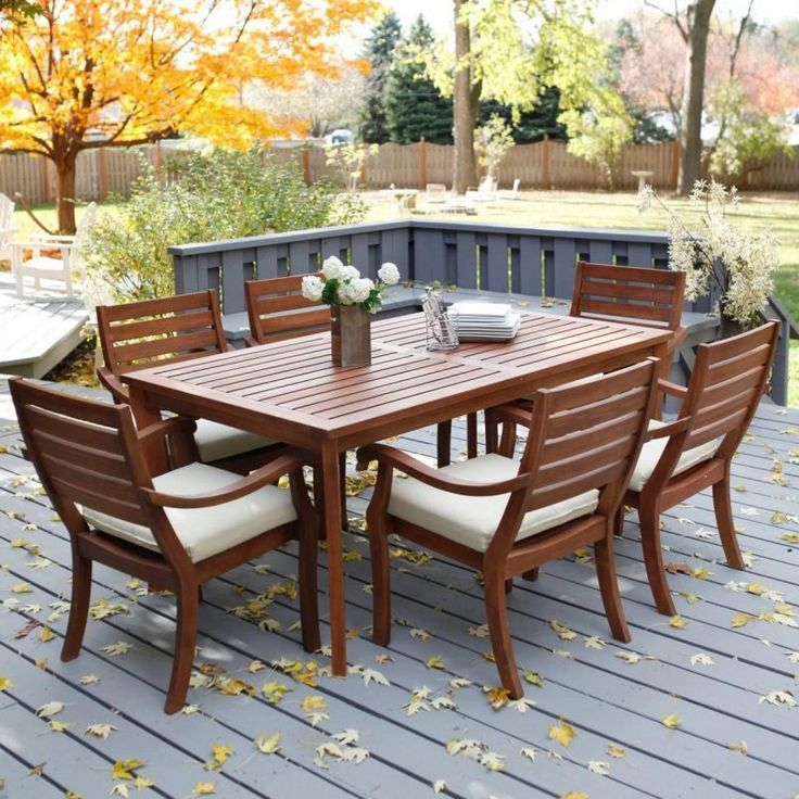 Outdoor Brown Conventional Varnished Wooden Dining Set With White Flower  Also Plate And Cheap Patio Furniture