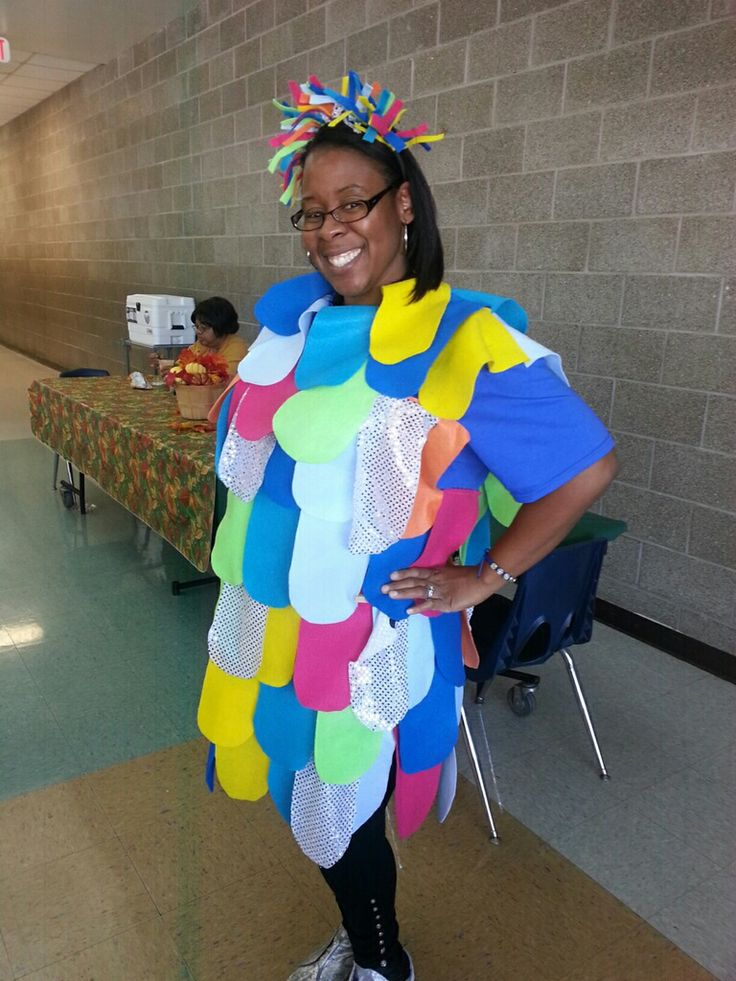 Rainbow fish costume that is a guidance lesson on sharing for Fish costume for adults