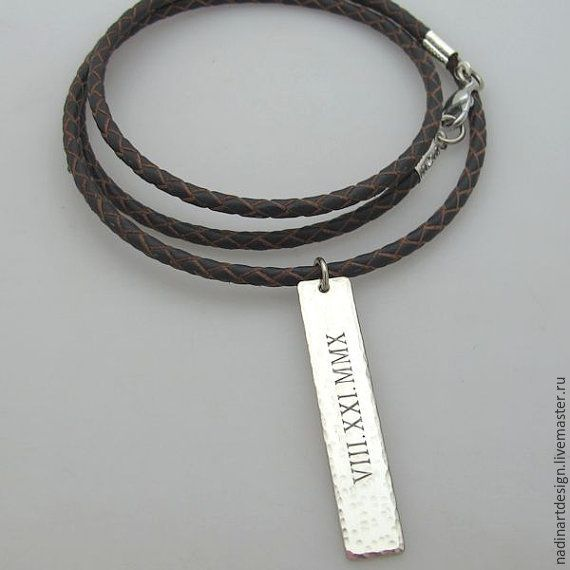 """Купить Кожаное плетёное ожерелье """"Мой стиль"""". Подарок мужчине с гравировкой - коричневый, ожерелье"""