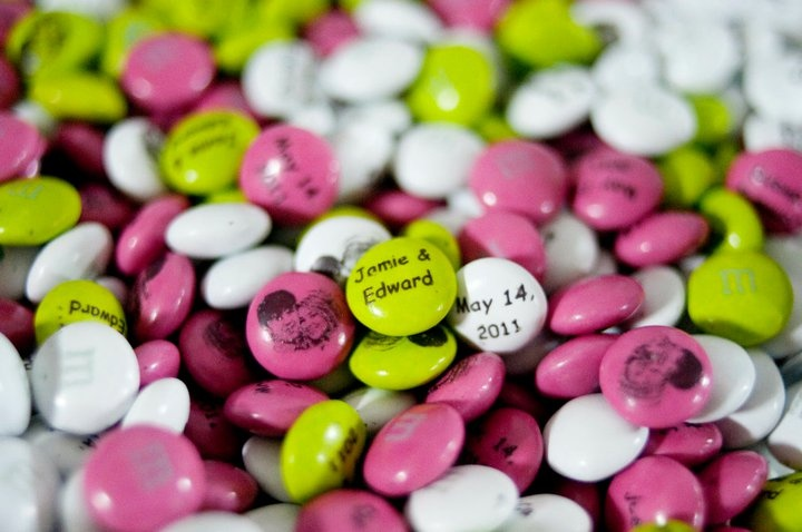 personalized M's at the reception candy bar #wedding #candy #favors