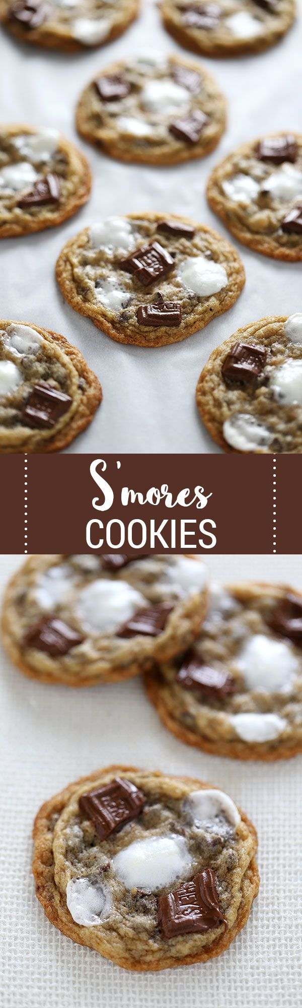 You're going to LOVE these adorable S'mores Cookies loaded with graham cracker crumbs, mini marshmallows, and gooey bits of Hershey's chocolate.