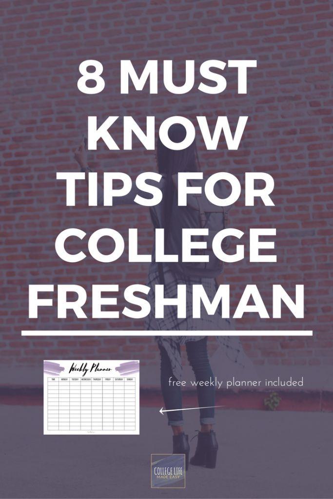 College Freshman Tips | Tips & Tricks for College Students | College Freshman Advice | College Freshman Organization | College Freshman Year | Free Printables | Free College Printables | Free Weekly Planner Printables | Survival Guide for College Students |