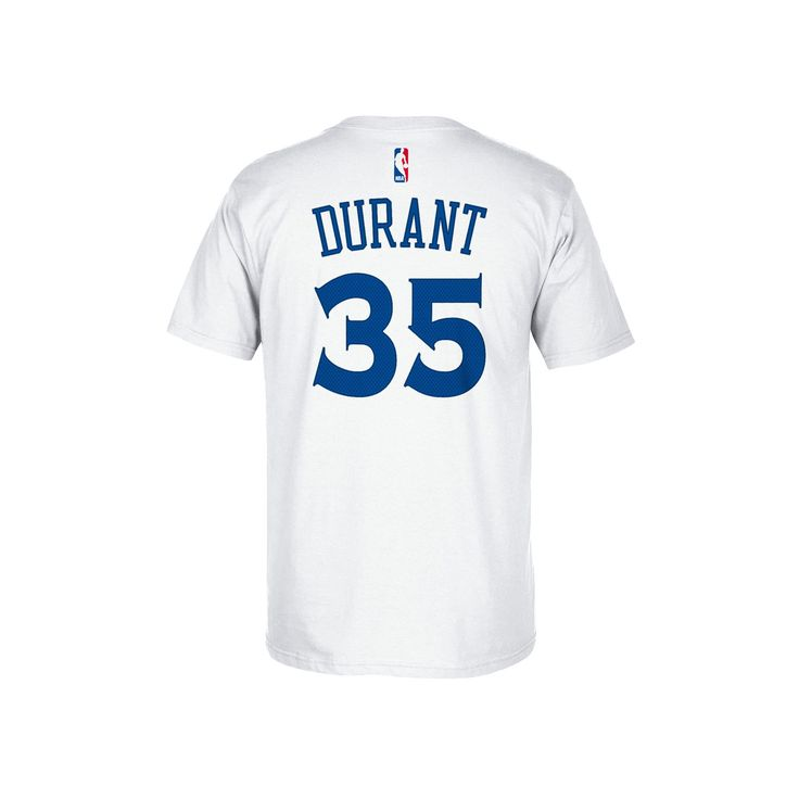 Men's Adidas Golden State Warriors Kevin Durant Player Name and Number Tee, Size: Medium, White