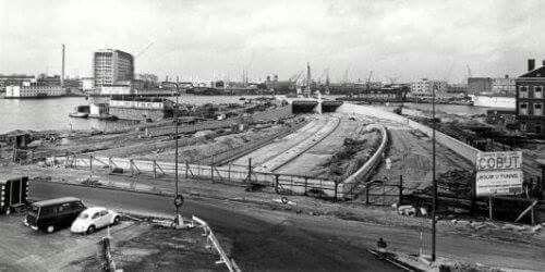 Aanleg IJ-tunnel 1968.